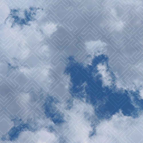 geometric circle with clouds in center
