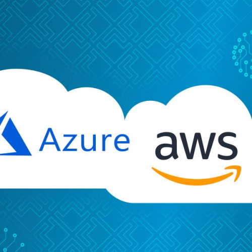 Azure and AWS logo in a cloud