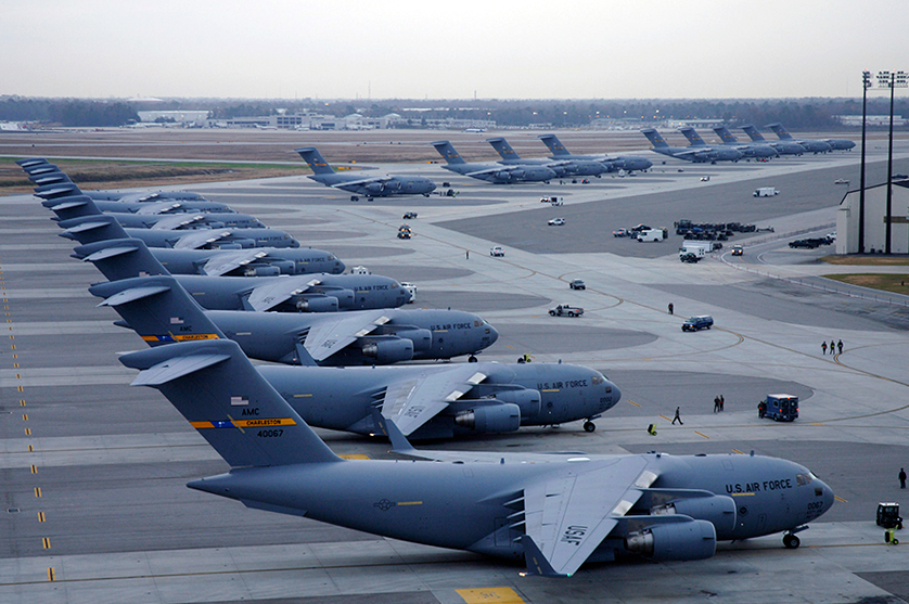 Air Force Planes lined up on a runway