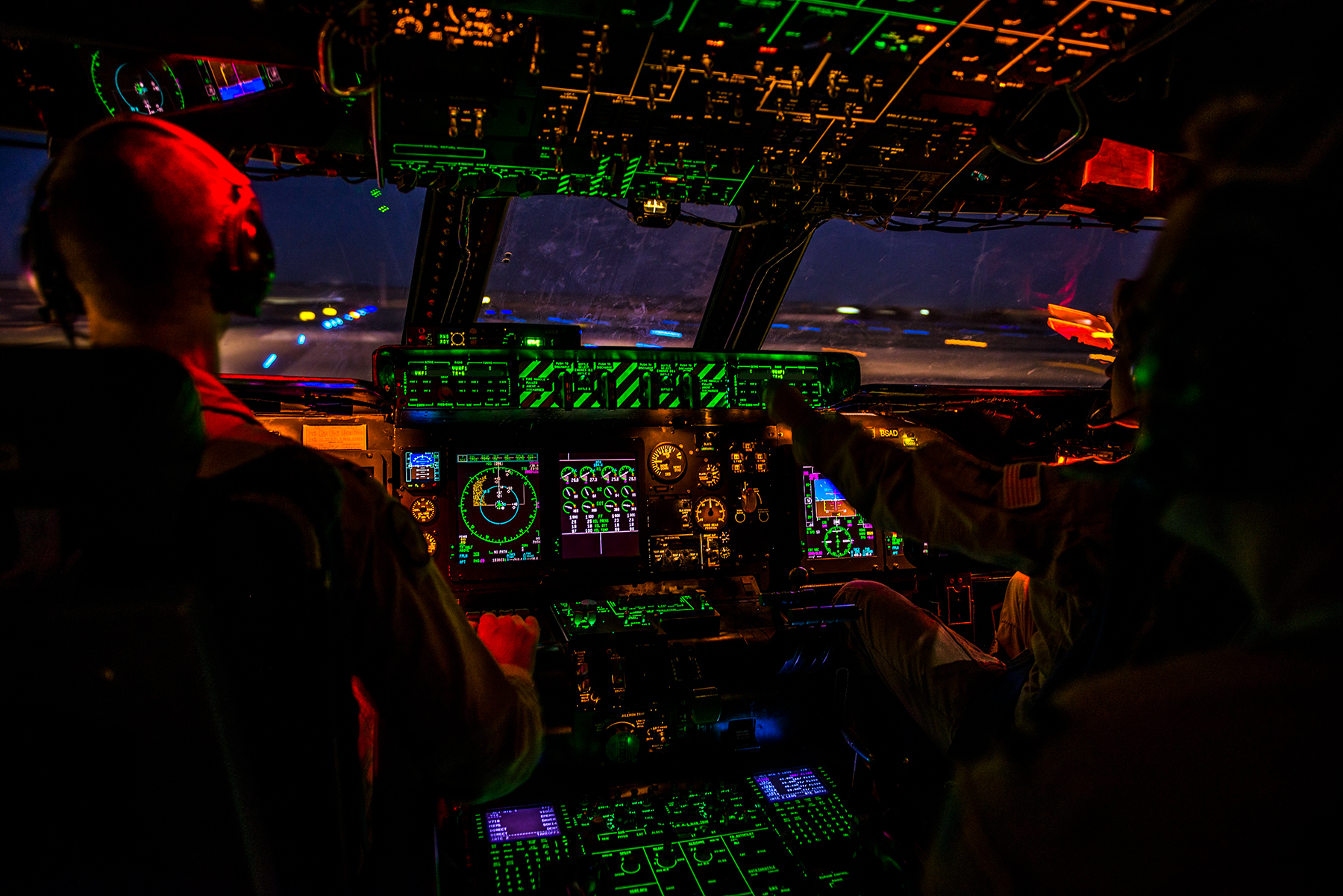 inside of a air force plane cockpit