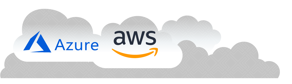 Azure and AWS logo in a floating cloud