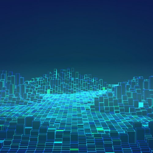 Abstract wave of blocks glowing