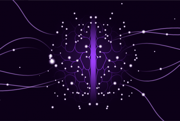 Abstract image of glowing dots around a purple line