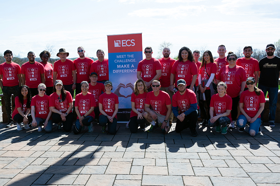 ECS employees at a volunteering event