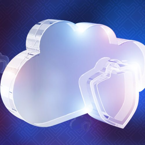 3D glowing cloud with shield coming out