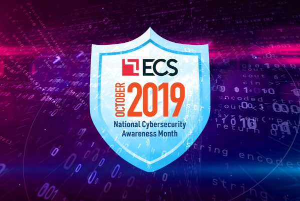 Abstract shield with ECS logo for Cybersecurity awareness month